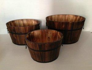 """1"""" x 15"""" x 1"""" Brown Wood Garden Planter  3 Piece"""