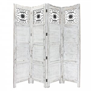 Gray Wash 4 Panel with Scroll Work Room Divider Screen