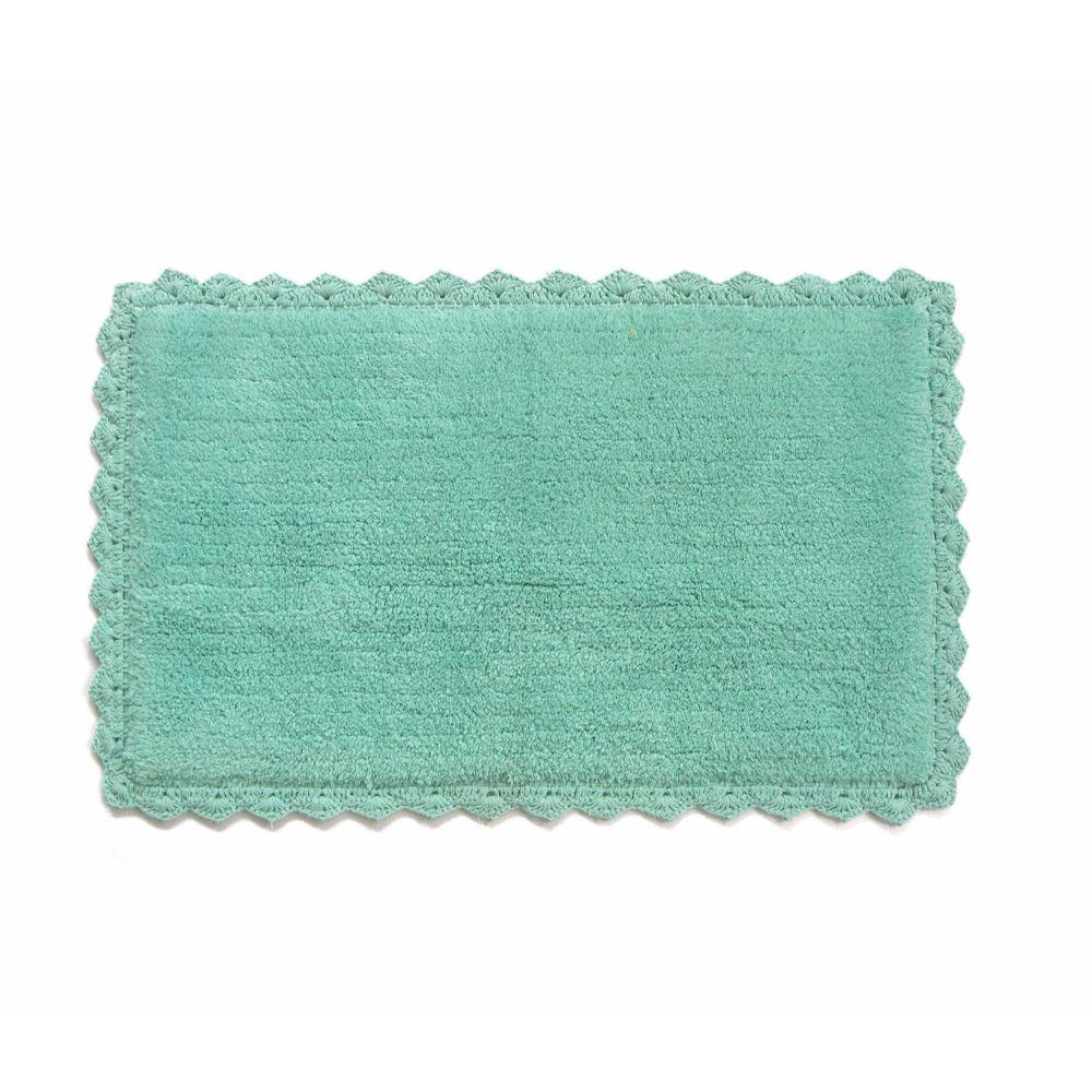 Aqua Blue Crochete Mat or Bath Rug