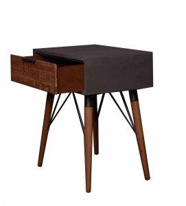"14.2"" x 19.7"" x 23.6"" Gray Pastoral Loft Wooden  End Table"
