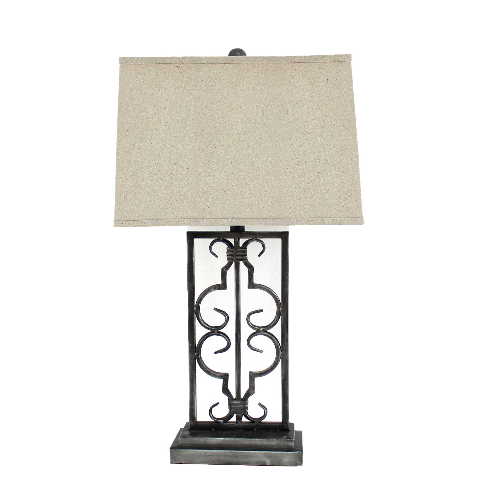 "29"" X 28"" X 8"" Gray Industrial Table Lamp With Stacked Metal Pedestal Set of 2"