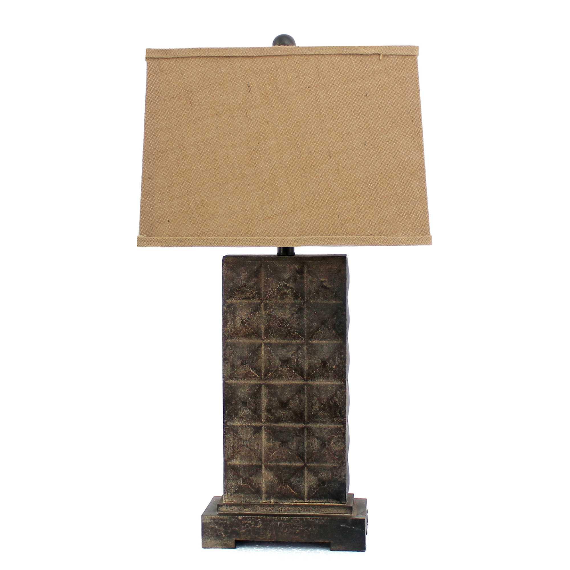 "30"" X 29"" X 8"" Brown Vintage Table Lamp With Distressed Metal Pedestal"
