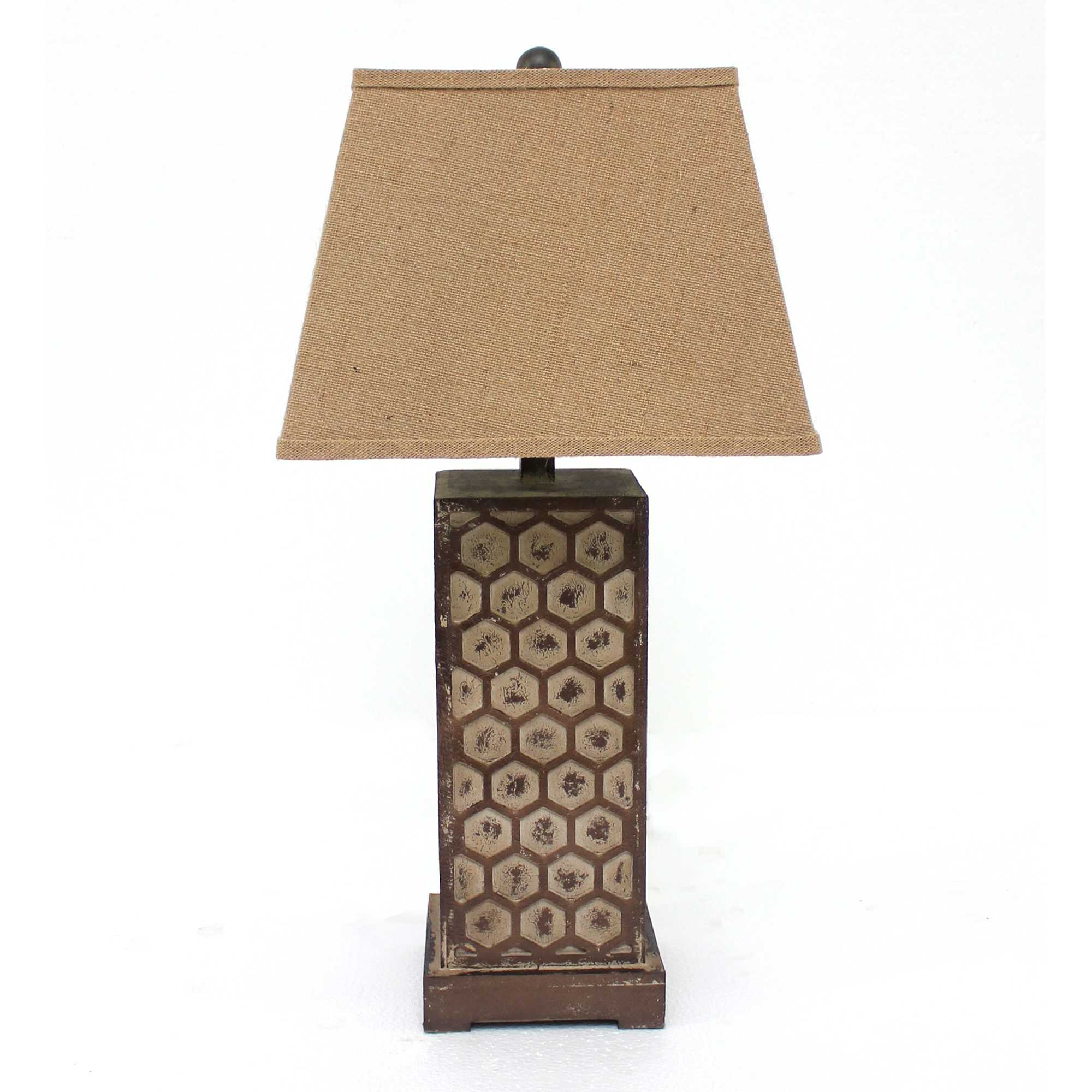 "29"" X 28"" X 8"" Brown Industrial Table Lamp With Honeycombed Metal Base Set of 2"