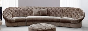"""35"""" Beige MDF and Velour Sectional Sofa"""