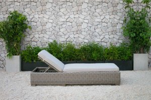 Adjustable Brown Rattan Cushioned Chaise Lounge