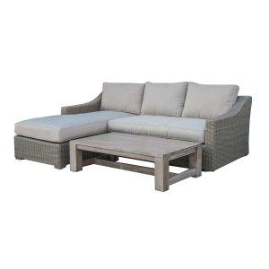 "30"" Aluminum, Wood, and Rattan Sectional Sofa Set"