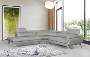 """30"""" Grey Leather  Foam  and Steel Couch"""