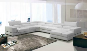 """36"""" White Bonded Leather  Foam  and Steel Sectional Sofa"""