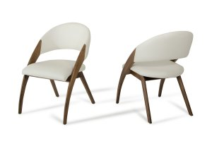 """31"""" Walnut Wood and Cream Leatherette Dining Chair"""