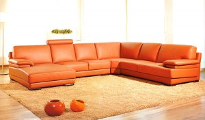"""39"""" Orange Leather and Wood Sectional Sofa"""