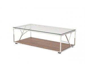 "15"" Walnut Veneer  Glass  and Steel Coffee Table"