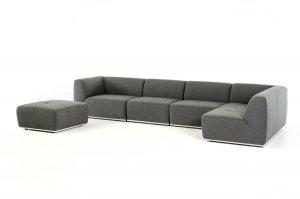 "34"" Grey Fabric  Foam  and Wood Sectional Sofa"