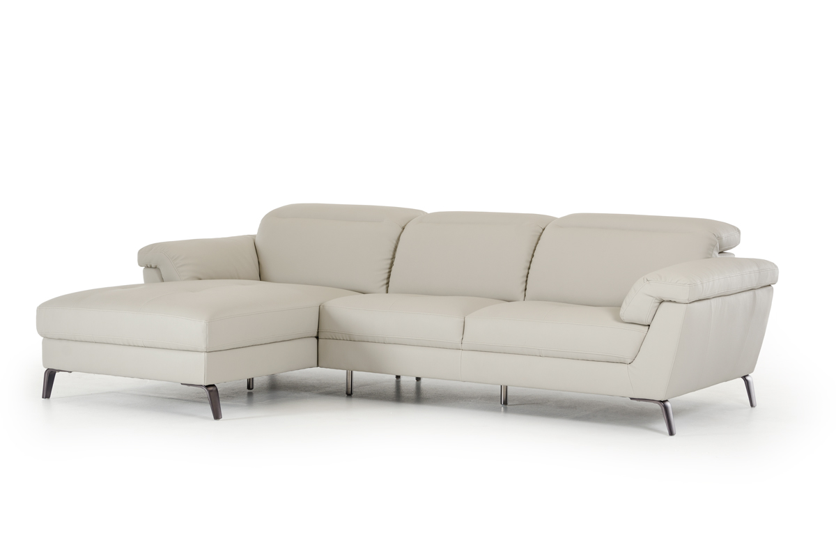 """37"""" Light Grey Eco-Leather, Foam, Steel, and Wood Sectional Sofa"""