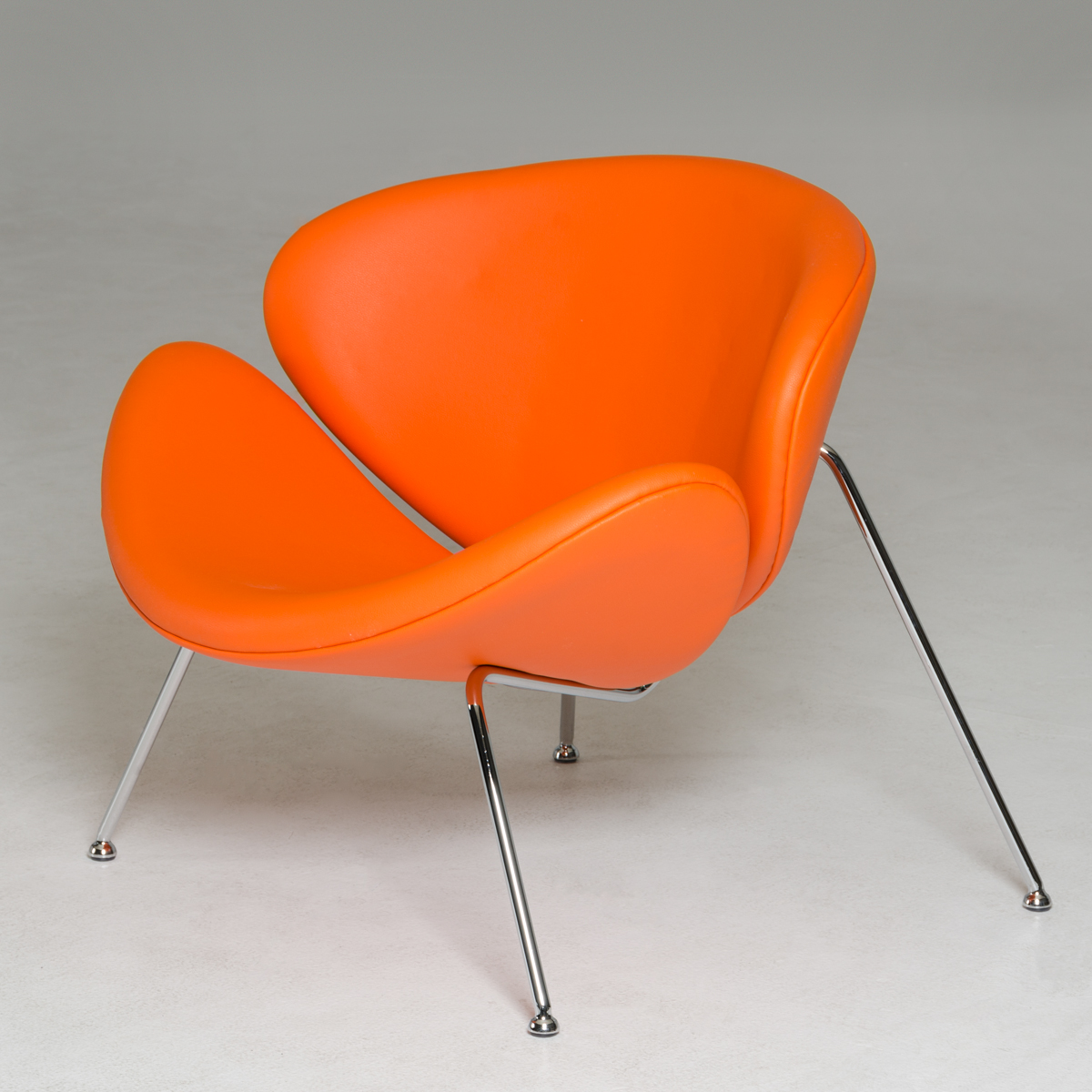 Contemporary Orange Leatherette Accent Chair