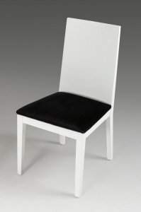 """Two 36"""" White Fabric Dining Chairs"""