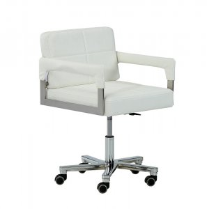 "29"" White Bonded Leather and Steel Office Chair"