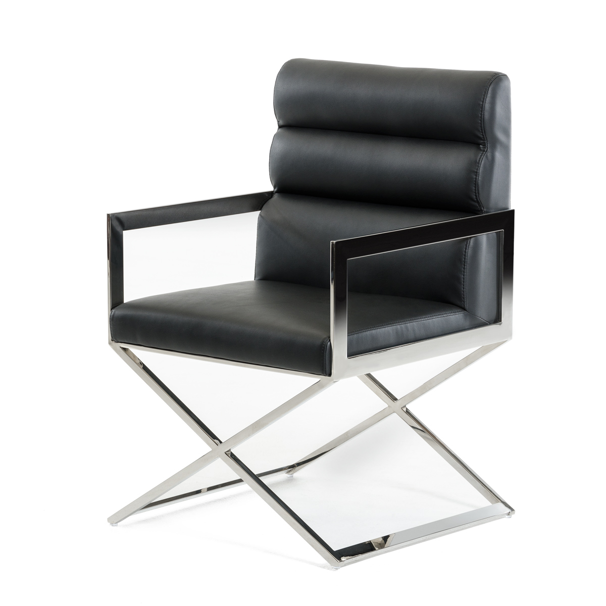 Modern Black Leatherette Dining Chair
