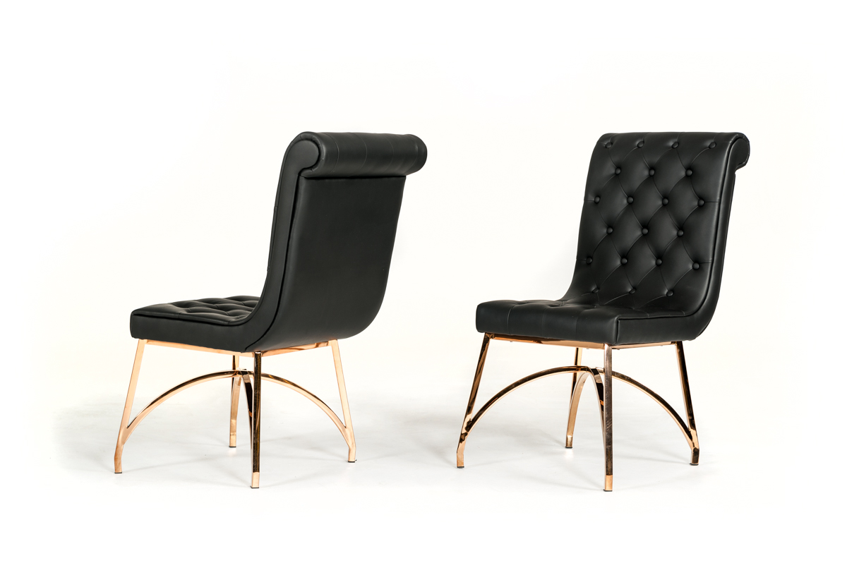 """37"""" Black Leatherette and Rosegold Stainless Steel Dining Chair"""
