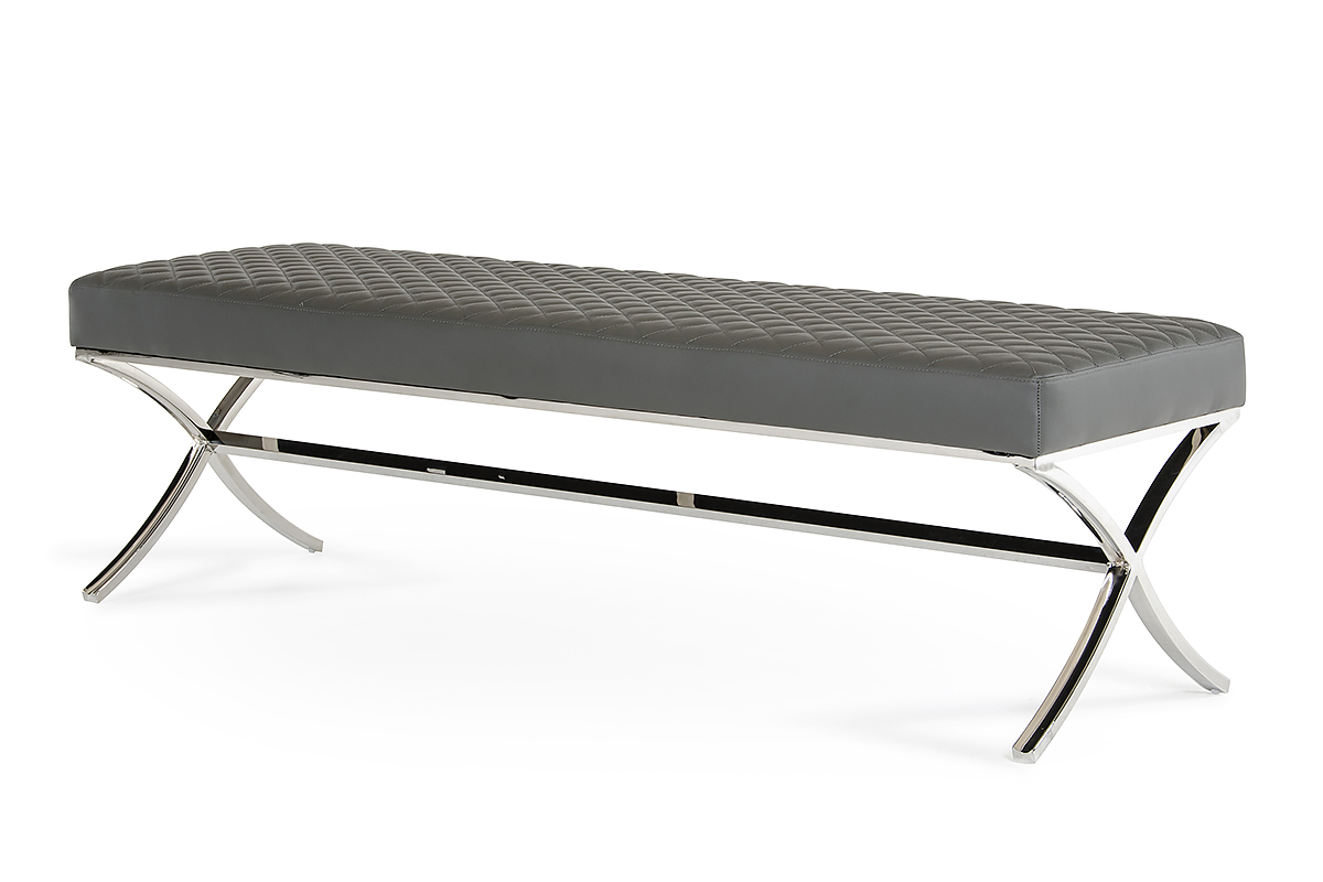 "19"" Grey Leatherette and Stainless Steel Bench"
