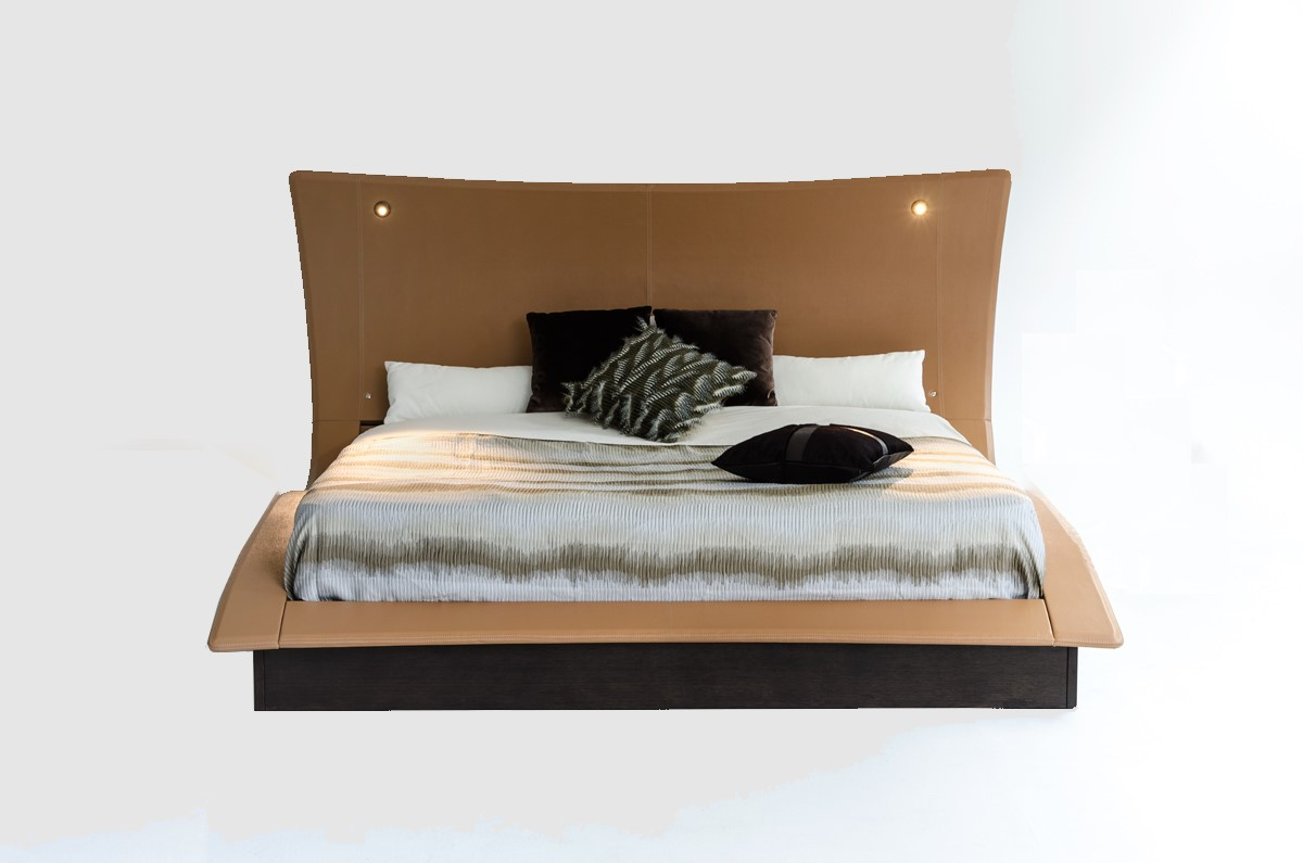 """52"""" Veneer and Leatherette King Bed with Lights"""