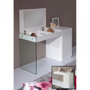 "27"" White Glass Floating Vanity with a Mirror"