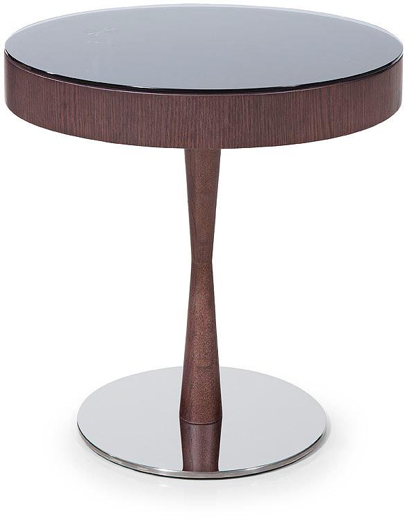 Modern Brown Oak End Table W/ Glass