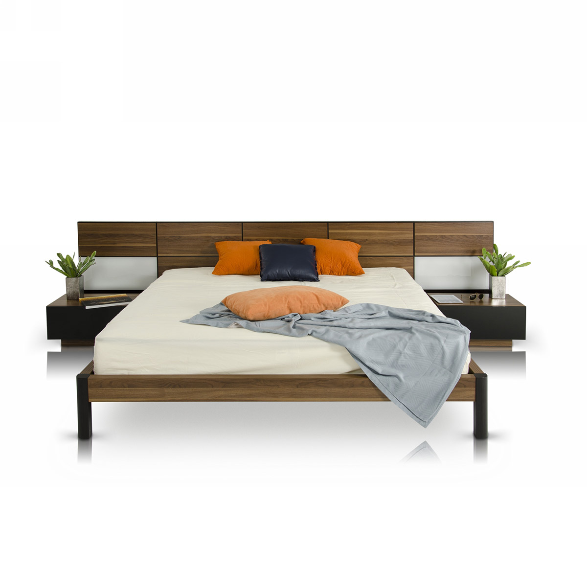 "35"" Veneer and MDF King Bed with Nightstands"