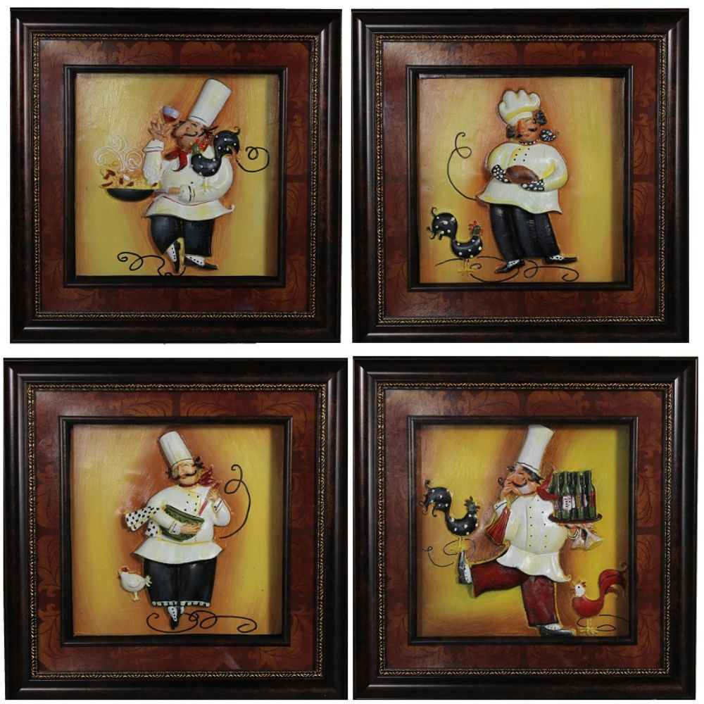 Attractive Chef Wall Decor, Assorted of 4