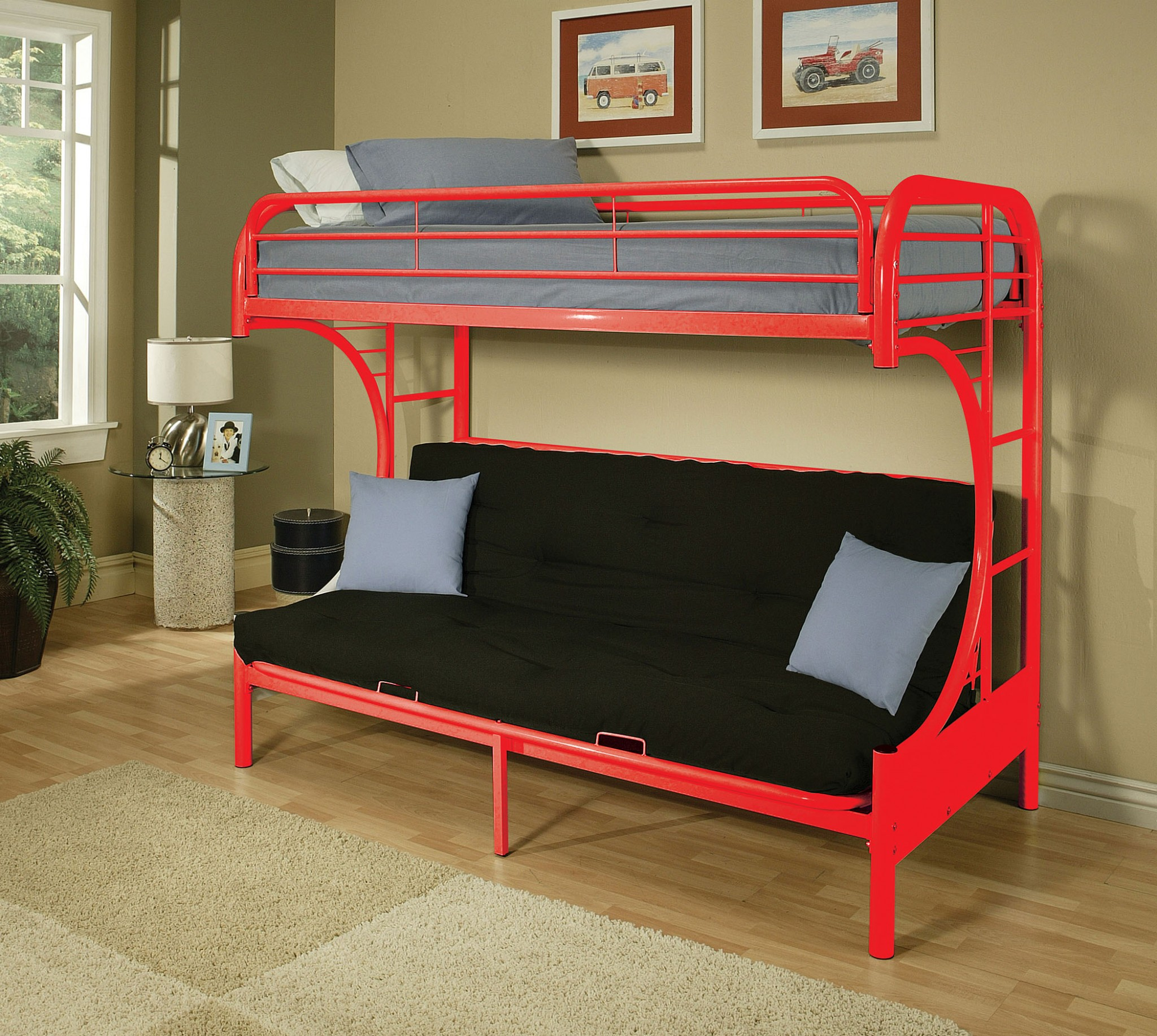 "78"" X 41"" X 65"" Twin Over Full Red Metal Tube Futon Bunk Bed"
