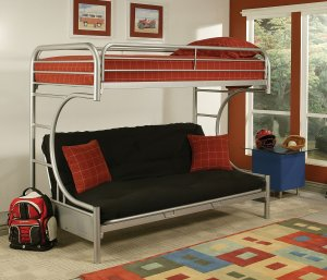 """78"""" X 41"""" X 65"""" Twin Over Full Silver Metal Tube Bunk Bed"""