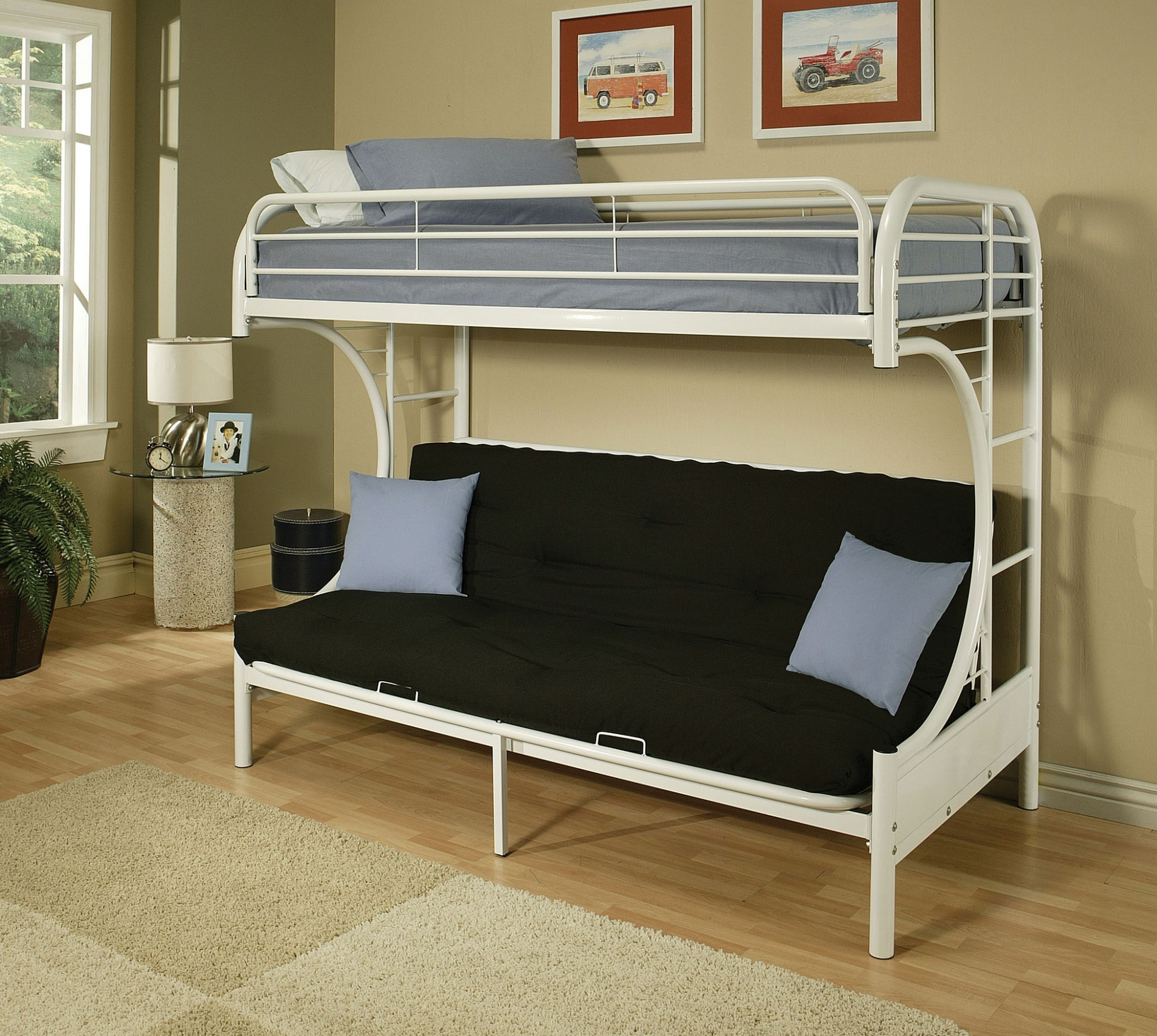 "78"" X 41"" X 65"" White Metal Tube Futon Bunk Bed"
