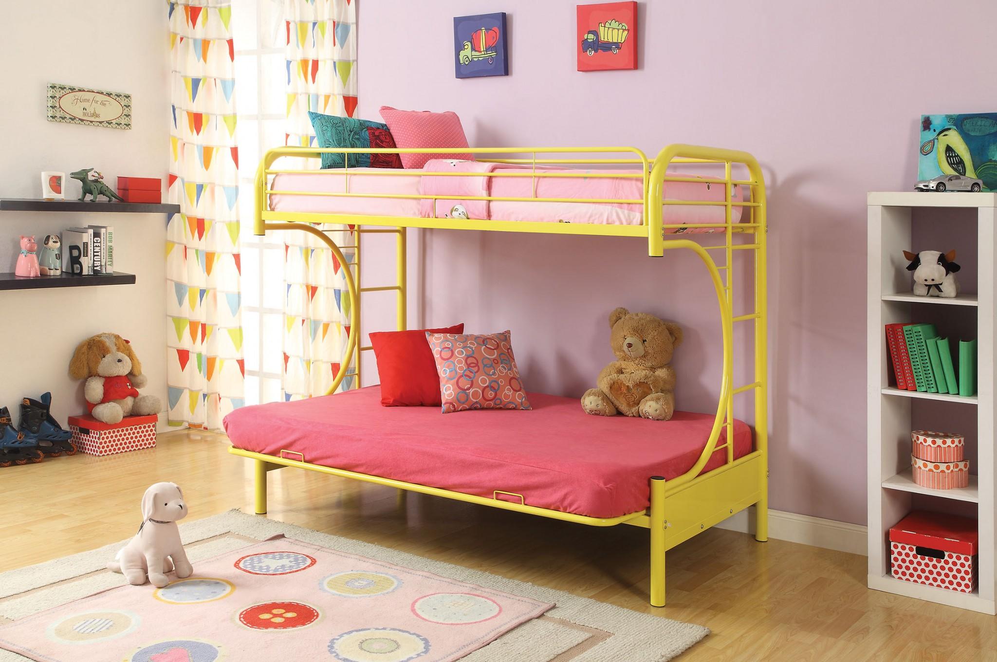 Twin/Full/Futon Bunk Bed, Yellow - Metal Tube Yellow