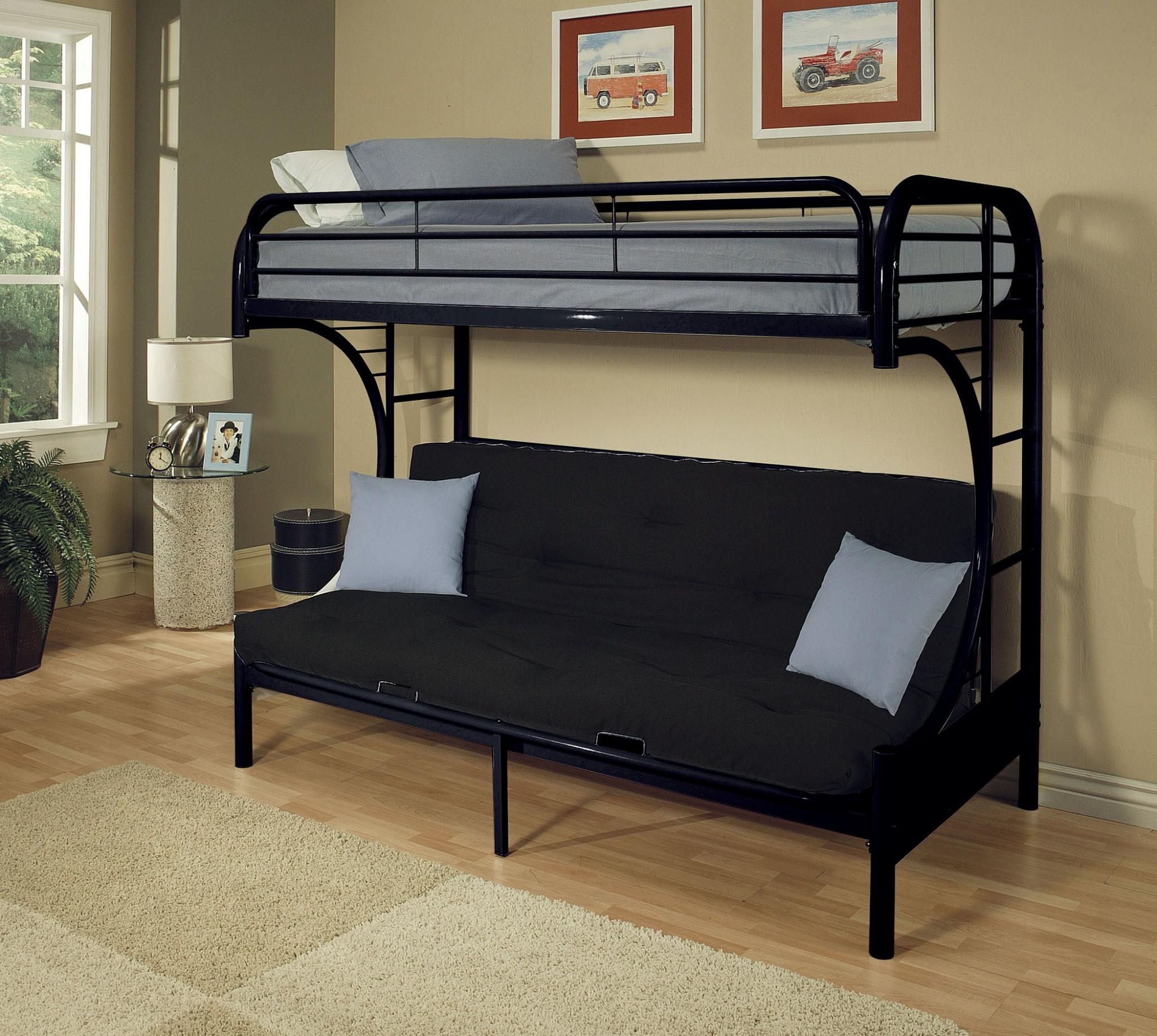 Twin Xl/Queen/Futon Bunk Bed, Black - Metal Tube Black