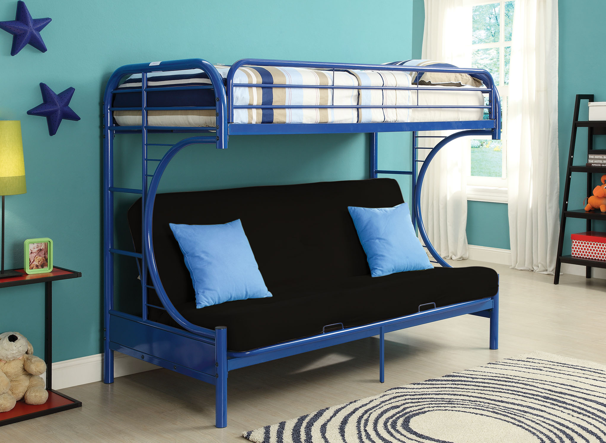 "84"" X 62"" X 65"" Twin Xl Over Queen Blue Metal Tube Futon Bunk Bed"