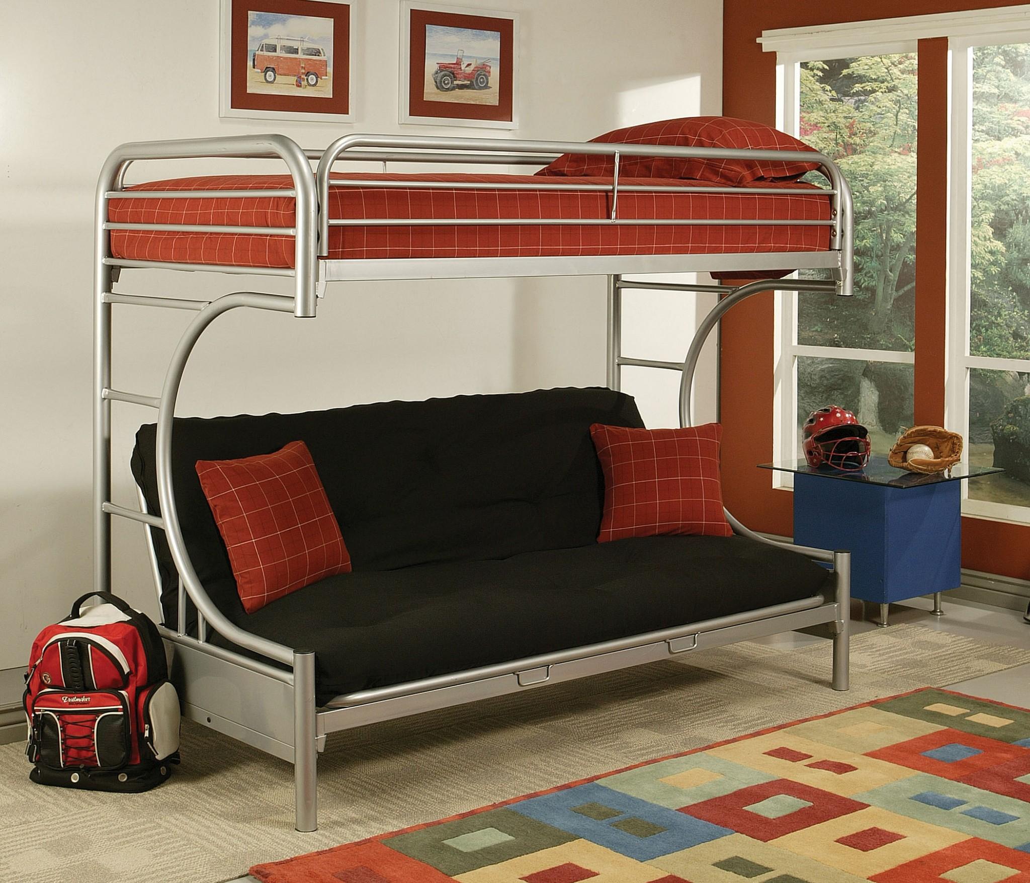Twin Xl/Queen/Futon Bunk Bed, Silver - Metal Tube Silver
