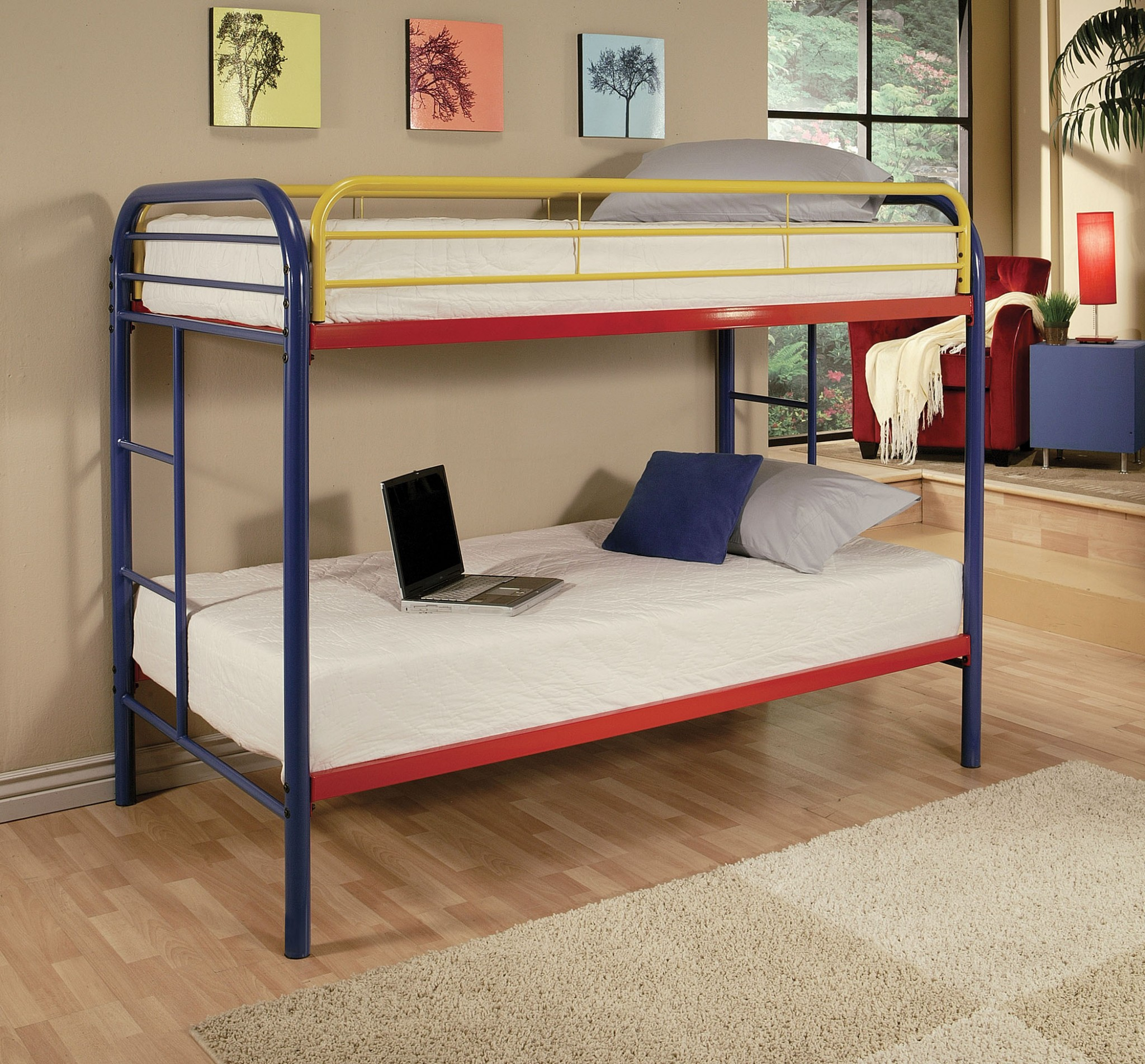"78"" X 41"" X 60"" Twin Over Twin Rainbow Metal Tube Bunk Bed"