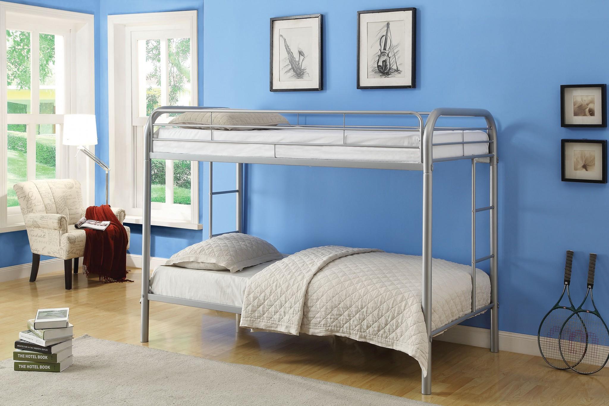 Twin/Twin Bunk Bed, Silver - Metal Tube Silver