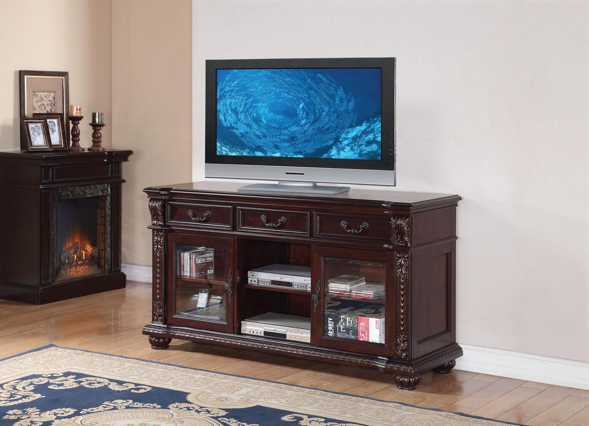 Tv Stand Cherry Poplar Wood Glass Cherry
