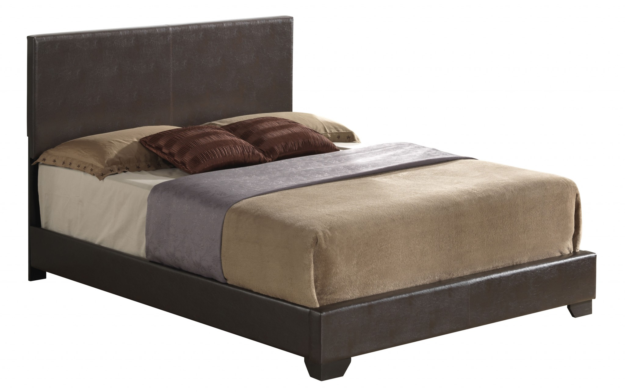 "86"" X 63"" X 47"" Queen Brown Pu Panel Bed"