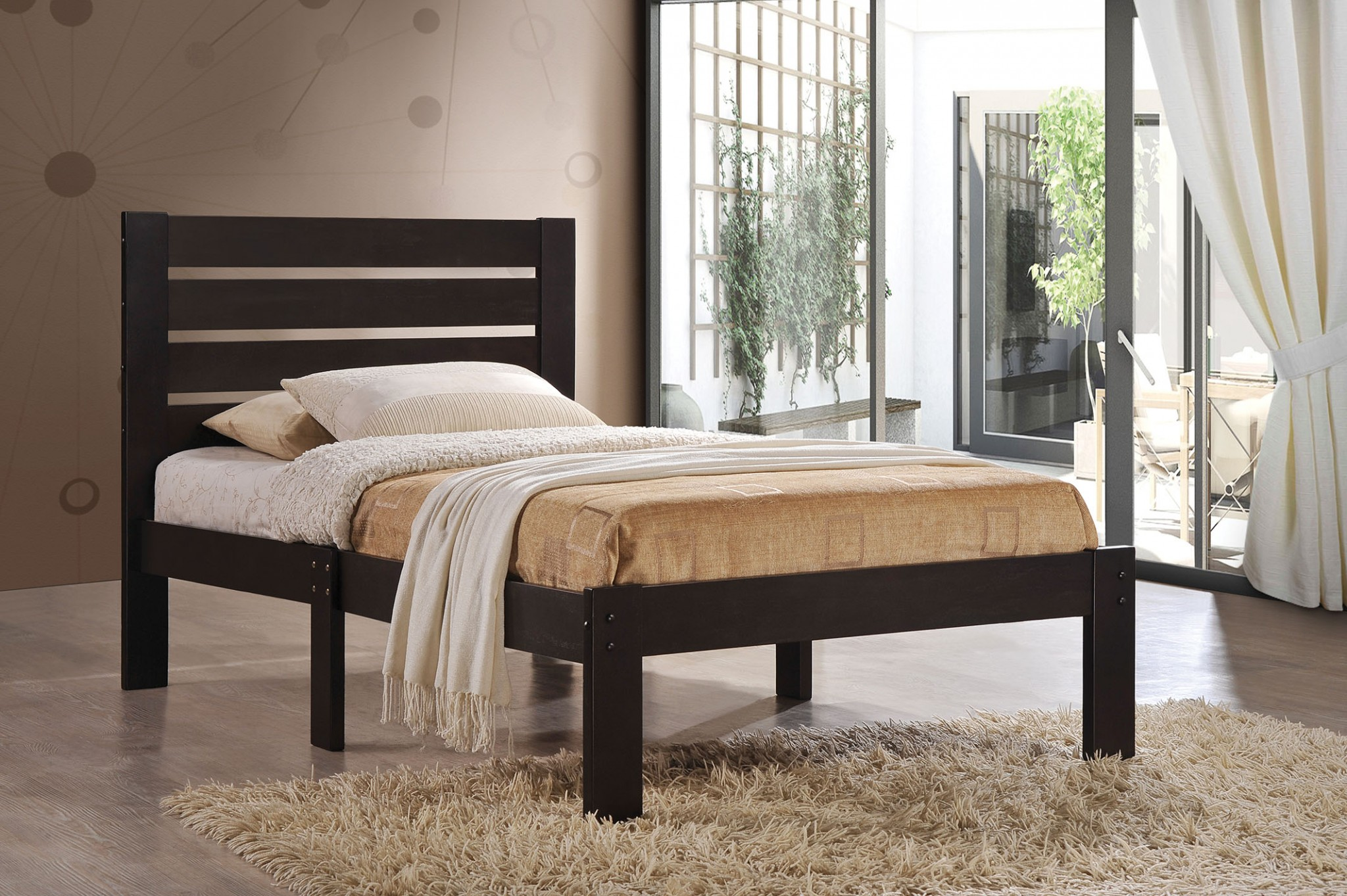 "78"" X 42"" X 32"" Twin Ash Brown Stylish Bed"