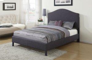"92"" X 79"" X 58"" King Gray Linen Bed"