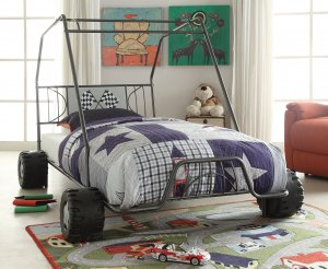 "84"" X 56"" X 51"" Twin Gunmetal Go Kart Bed"