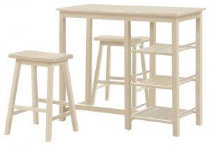 "19"" X 33"" X 46"" 3Pc Pack Buttermilk Rubber Wood Counter Height Set"