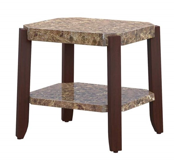 """24"""" X 23"""" X 24"""" Faux Marble And Brown End Table"""