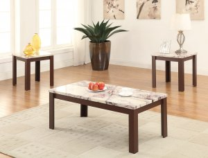"""48"""" X 24"""" X 18"""" 3Pc Faux Marble And Cherry Coffee And End Table Set"""