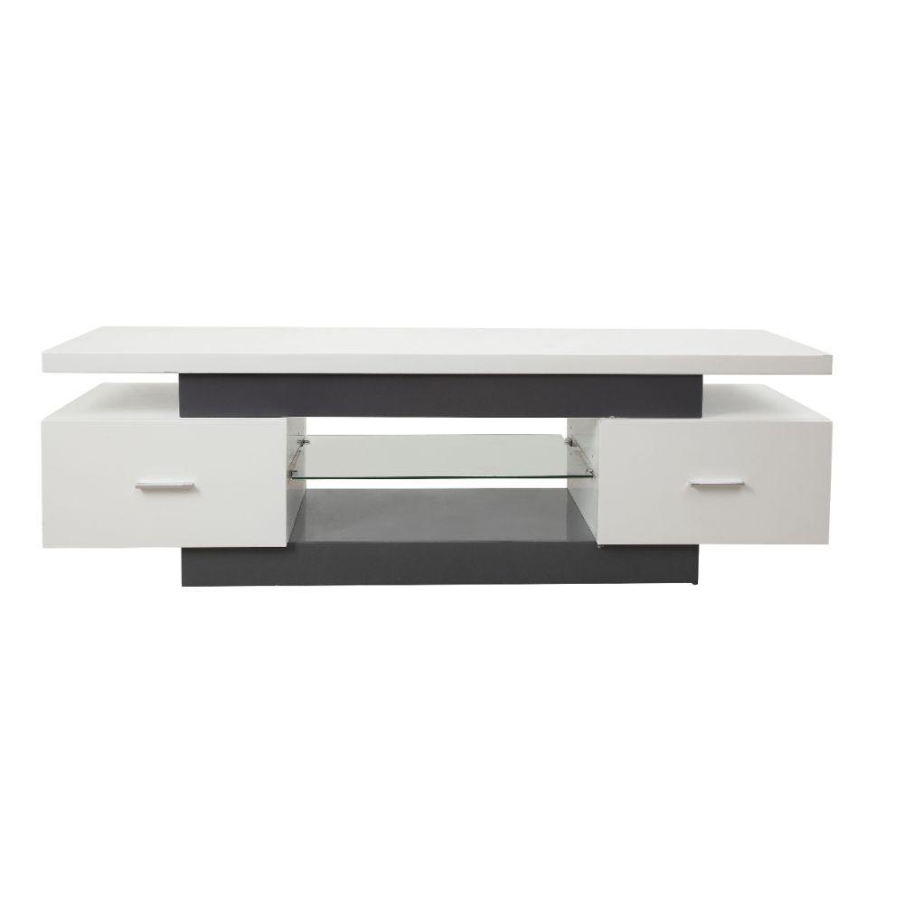 Tv Stand, White & Gray - Mdf, Glass White & Gray