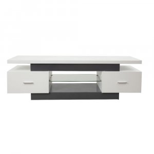 """59"""" X 16"""" X 19"""" White And Gray Mdf Tv Stand"""