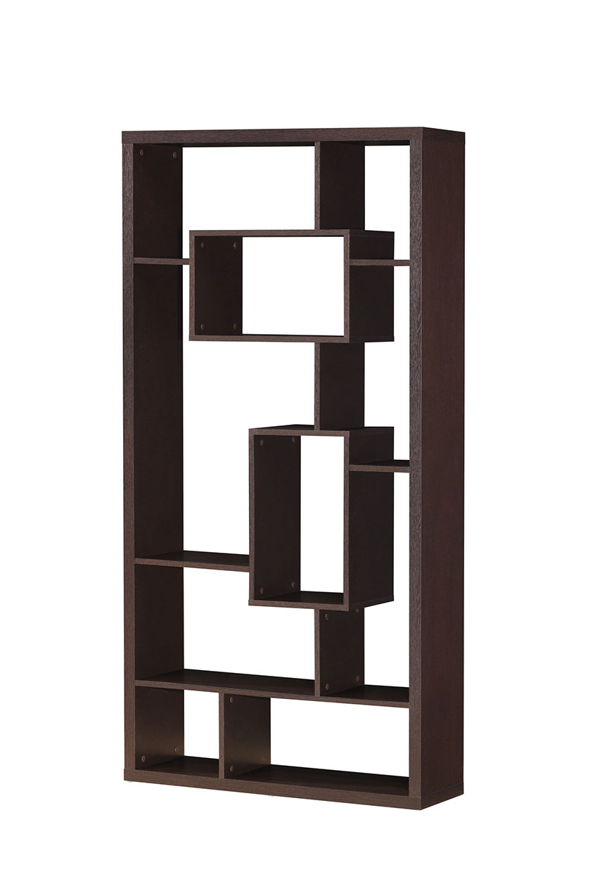 "35"" X 11"" X 71"" Cappuccino Hollow Bookcase"
