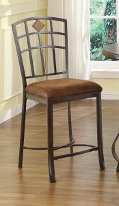 """18"""" X 22"""" X 41"""" 2pc Fabric And Black With Gold Brush Counter Height Chair"""