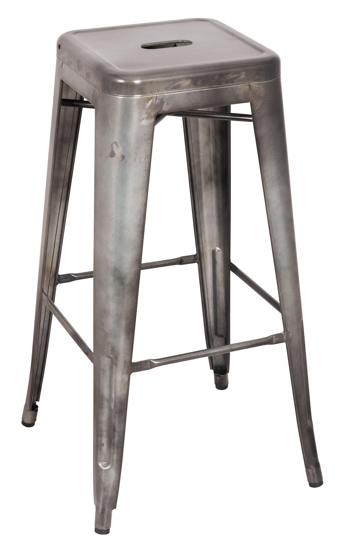 Bar Stool (Set-2), Antique Silver - Steel Antique Silver